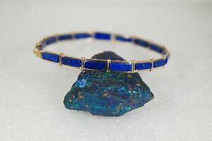 YELLOW GOLD FILLED CUSTOM HAND CRAFTED GENUINE NATURAL LAPIS BRACELET
