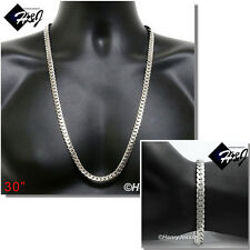 "30""MEN Stainless Steel 8mm Silver Miami Cuban Curb Chain Necklace Bracelet*S155"