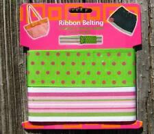 """3 Yds Pink Green Polka Dot Stripes Grosgrain Ribbon 1 1/2""""W"""