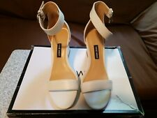 Nine West Womens Sloane White Leather Ankle Strap Heels Size 5
