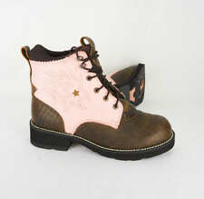 Ariat Probaby Lacer Women 9 Pink Brown Leather Western Cowgirl Lace Up Work Boot