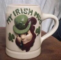 "Rare Vintage Handcrafted Ceramic Mug - ""MY IRISH MUG""  Leprechaun"