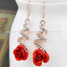 Elegant Twist Red Flower Women Crystal Diamante Dangle/Drop Earrings Xmas Gift