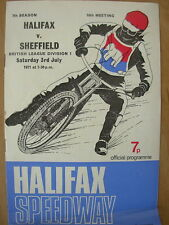 HALIFAX v SHEFFIELD 3rd JULY 1971 SPEEDWAY PROGRAMME