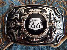 Hecho a mano en Reino Unido America Nueva Ruta 66 hebilla de cinturón Plateado/negro Metal