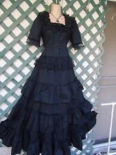 GOTHIC MEDIEVAL BLACK LACE UP RUFFLE TIERED LACE WEDDING GOWN DRESS S MASQUERADE