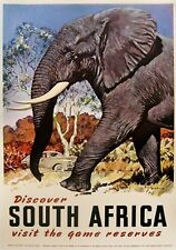 MAGNET Travel Poster Photo Magnet Discover SOUTH AFRICA Game Preserves Elephant
