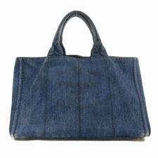 PRADA  B2642B Tote Bag With Canapa strap Denim