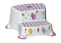 Hippo Friends Baby Unisex non-slip DOUBLE Step Stool - White