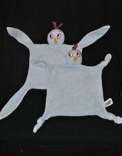 Lot 2 peluche doudou oiseau plat bleu INFLUX poussin velours bec jaune TTBE