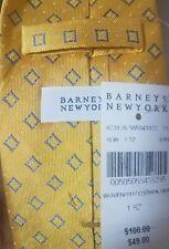 NWT BARNEYS NEW YORK Mens Gold & Blue Geometric Silk Tie Handmade in Italy