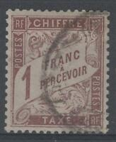"FRANCE STAMP TIMBRE TAXE N° 25 "" TYPE DUVAL 1F MARRON "" OBLITERE TTB N664"