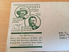 VENEZUELA AND US   1934  POSTAL COVER