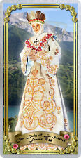 Our Lady of La Salette laminated Catholic Holy Prayer Card. Statue of Mary