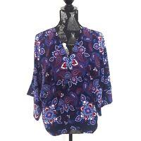 Sportsgirl Womens Size 12 Blue Paisley Print Open Cardigan 3/4 Sleeve