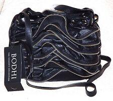 New Bodhi $598 Black leather Zipper ruffle handbag purse