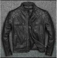 Men's Vintage Distressed Black Genuine Bikers Cow-Hide Leather Jacket - BNWT