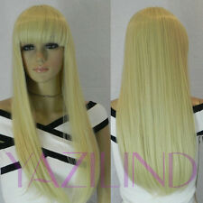 Long Silky Straight Light Blonde Full Bangs Cosplay Synthetic Hair Wig