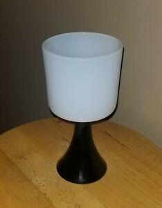 Vintage Opaline White & Black Chalice vase compote MCM Italian