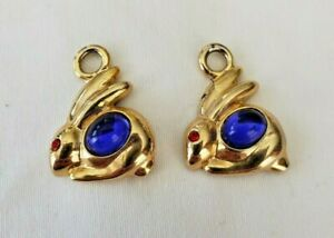 """Bunny Charms for Earrings or Bracelet- Goldtone - 1"""" Charms- Unbranded- Easter"""
