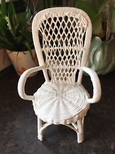 Vintage doll or teddy white painted wicker chair