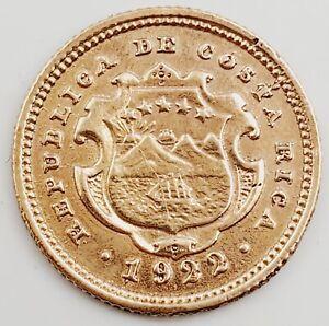 1922 Republica de Costa Rica Two 2 Colones Gold Coin 1.0g