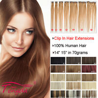 "14"" 15"" Clip In Remy Hair Extensions 100% Real Human Hair Black Blonde Brown Red"