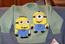 MINIONS  SIZE 3 HAND KNITTED  NEW 100% ACRYLIC.