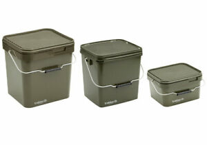 Trakker Olive Square Container Bait Bucket & Spoon *All Types* NEW Carp Fishing