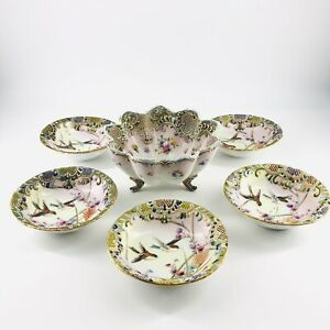 Antique Nippon Japan Moriage Floral Hand Painted Bird Porcelain 6 Berry Bowl Set