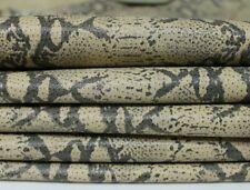 GREY PYTHON SNAKE print on BEIGE Italian Lambskin leather 2 skins 15sqf 0.6mm