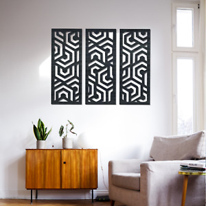 065 Modern Abstract Art 3 Panels Stained Wooden Wall Hanging Art Decor