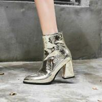 Womens Shiny Patent Leather Chunky Heel Zip Pointed Toe Ankle Boots Party Shoes