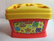 Fisher Price Shape Sorter Blocks Baby Toddler Toy 10 Block Bucket W/ Handle