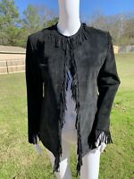 PAMELA MCCOY BLACK BOHO SUEDE LEATHER FRINGE WESTERN JACKET COWGIRL SMALL COAT