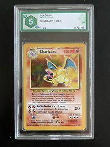 Carta Pokemon Charizard ITA GRAAD 5 PSA Eq - EXCELLENT - Set Base 4/102 1999