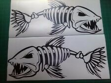 "(2) Skeleton Fish boat Decals 12"" vinyl Fishing sticker truck trailer window car"