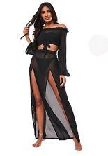 Missguided Black Mesh Maxi Split Skirt BNWT Size 8 RRP £18