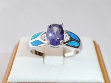 Ladies 925 Fine Silver 1 Carat Oval Cut Tanzanite White Sapphire and Opal Ring
