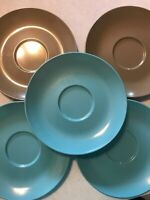 vintage Boontonware saucers  Set Of 5 Teal Blue And Brown Somerset 5202