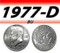1977-D KENNEDY BRIGHT CLEAR UNCIRCULATED HALF DOLLAR==BU===C/N===