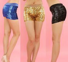 Women Sequin Sexy Shorts Metallic Pants Elastic Waist Hot Shiny Dance Clubwear