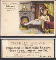 Brooklyn 1880 Currier & Ives Chas Brown Tobacco Cigar Shop Victorian Trade Card