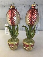 NWT Pair Glass Bulb Flower in Pot Glass Christmas Ornaments Mervyns