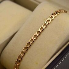"""18K Yellow Gold Filled Bracelet Chain 7.5""""5mm Curb Link GF Charm Fashion Jewelry"""