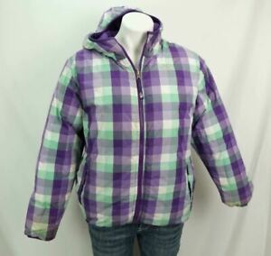 The North Face 550 Down Coat Plaid Check Reversible Hooded Jacket Girls XL 18
