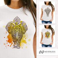 Damen T-Shirt Mandala Elefant Elephant Boho Ethno Slim Fit Neverless®