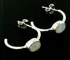Rainbow Moonstone and Sterling Silver Hoop Earrings