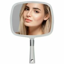 Mirrorvana Large & Comfy Hand Held Mirror with Handle - Silver