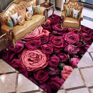3D Printing Carpet Rose Flower Rug Multicolor Anti Slip Living Room Carpet